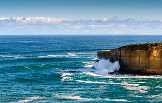 Waves Crashing on Limestone Cliff at The Arch @ Port Campbell National Park - Port Campbell, Victoria, Australia