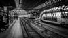 Koploper & Dubbeldekker (peterned) Tags: amsterdam central station sun shadow lines trains koploper dubbeldekker black white monochrome canon eos 7d 1755mm june 2015