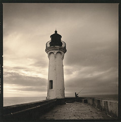Fisherman (Antonio's darkroom) Tags: fisherman normandy hasselblad trix kodak pyrocathd catechol se1 sepia viradon mt3 thiourea carbon mt2 moersch 542 chamois lighthouse foma toning