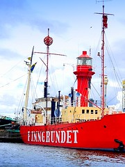 Lightship Finngrundet, now a museum ship in Stockholm. The day markers can be seen on the masts. (dimaruss34) Tags: newyork brooklyn dmitriyfomenko image sky clouds water sweden stockholm svetlanafomenko lightship museum architecture cityarchitecture