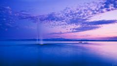 Fountain in Lake Constance (johaennesy) Tags: bluehour lakeconstance bodensee fountain water sunset blue opensourcesoftware gimp rawtherapee pentax k1 pentaxian landscape landschaft friedrichshafen