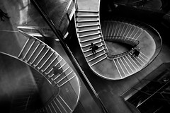 Upstairs Downstairs (Scott Baldock) Tags: nikon d810 20mm 35ais london city street photography black white mono spiral stairs staircase low key art dark