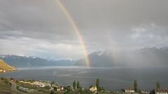 Leman light (Riex) Tags: double rainbow arcenciel cloudy clouds sky rain ciel nuageux nuages orageux pluie weather day lavaux cully moratel vaud switzerland suisse lac leman lake sd1300is explored09162017 cloudsstormssunsetssunrises