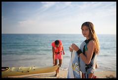 the lesson (ukke2011) Tags: nikonf5 nikkor3514g kodakektar100 film pellicola 135 beach spiaggia sea mare canoe canoa summer estate