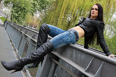 Alexandra 55 (The Booted Cat) Tags: sexy brunette long hair girl model leather tight blue jeans denim jacket overkneeboots overknee boots heels highheels