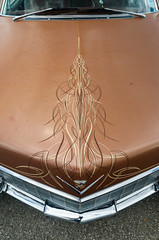 Tattooed Caddy (GmanViz) Tags: gmanviz color car automobile detail goodguysppgnationals nikon d7000 chrome 1965 cadillac hood grille badge pinstripes bumper