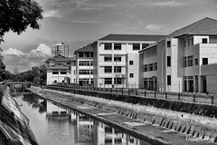 The canal of education (gunman47) Tags: asia b bw board coast development east hdb mono monochrome patricks road sg saint sepia siglap singapore w apartment black flat housing landscape photography redevelopment school secondary urban white