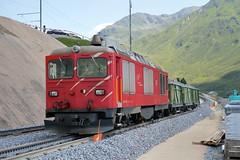 MGB - HGm 4/4 62 Diesel-electric Locomotive (Kecko) Tags: 2017 kecko switzerland swiss schweiz suisse svizzera innerschweiz zentralschweiz uri nätschen oberalp pass oberalppass matterhorngotthardbahn railway railroad mgb eisenbahn bahn bahnhof station gleis track baustelle constructionsite schmalspur zahnstange abt mountain swissphoto geotagged geo:lat=46642120 geo:lon=8612650