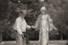 Helping Hand (Oliver Leveritt) Tags: chippiannock cemetery rockisland illinois statue monument sepia monochrome nikond610 afsnikkor2470mmf28ged flash speedlight speedlite yongnuo yn568ex