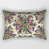 bohemian posy cream rectangular society6 pillow (Scrummy Things) Tags: sharonturner boho bohemian posy posie bouquet surfacedesign illustration illustrative feather feathers floral flowers soc6 society6 rectangularpillow oblong cushion
