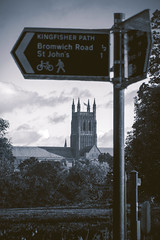Worcester cyanotype (Sean Hartwell Photography) Tags: worcester cathedral church cyanotype monochrome cyan religion medieval gothic footpath sign worcestershire canon760d