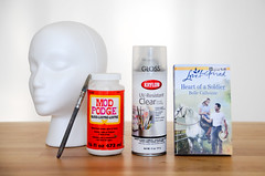 Decoupage Mannequin Head (xmoonbloom) Tags: decoupage crafts modpodge krylon books foam styrofoam mannequins heads displays supplies projects