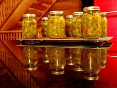 Zucchini Relish: Homegrown and made on Bluebird Estates +1 (peggyhr) Tags: peggyhr homemade zucchinirelish bluebirdestates alberta canada reflections artforkitchendiningroomwall