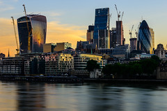 The City Waking Up (George Plakides) Tags: thecity sunrise golden thames river water reflections building architecture walkietalkie ghurkin toweroflondon