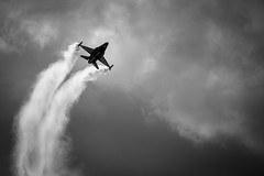 Climb Climb Climb (Leanne Boulton) Tags: monochrome airshow scottishinternationalairshow aeroplane airplane aircraft plane jet fighter f16 military belgianairforce smoke contrails sky clouds silhouette shape form tone texture detail depth naturallight outdoor light shade shadow humanity event canon canon5d 5dmkiii 400mm telephoto ef70200mmf28lisiiusm extenderef2xiii black white blackwhite bw mono blackandwhite ayr scotland uk flight flying