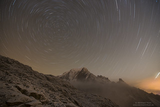 Star trails over Montblanc and Cresta Peuterey