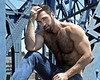1244 (rrttrrtt555) Tags: hair hairy chest shoulders arms beard muscles flex biceps jeans pants construction eyes stare masculine hands sky outdoors worker