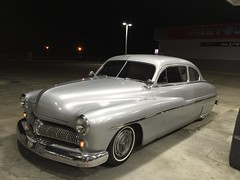 Parking Lights (KRISTY FOX) Tags: 49merc parkinglights nighttime silversilk spotlights grille oklahoma smallblock runninglights modified classiccar ford 1949
