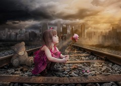 Girl with a rose. Photo edit done recently. #rose #traintracks #younggirl #digitalart #photomanipulation #photoshop #surreal #photography (niccyjoubert) Tags: rose traintracks younggirl digitalart photomanipulation photoshop surreal photography