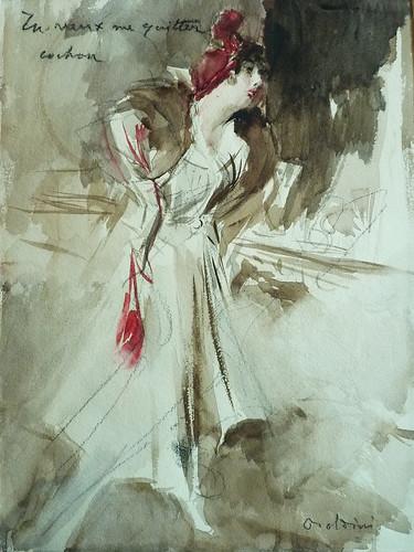 BOLDINI Giovanni - Jeune Femme coiffée d'un Chapeau rouge tenant un Sac rouge (Louvre RF39193) - 0