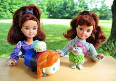 The twins (flores272) Tags: stacie staciedoll tsumtsum barbiedoll barbieslittlesister outdoors frozen ana anna elsa toy toys doll dolls whitneydoll