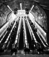 The escalator (andersåkerblom) Tags: blackandwhite escalator metro urban city monochrome