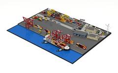 Intermodal Freight Terminal (ABS Shipyards) Tags: lego mini micro diorama intermodal freight freighter container ship harbor crane rail railyard gantry truck stacker