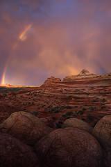 Desert Light (Maddog Murph) Tags: nevada utah parriah plains plateau southwest desert rainbow clouds thunder storm rain shower sunset wave second escalante page kanab