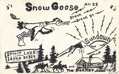 Sundown:  Snow Goose & Sundown - Spirit Lake, Idaho (73sand88s by Cardboard America) Tags: sundown vintage qsl qslcard cb cbradio idaho artistcard
