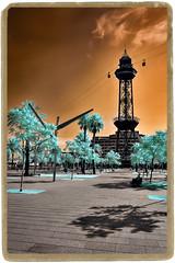 Torre Jaume I (Ar@lee) Tags: barcelona catalunya airelibre árbol bordeparafotos colours d50 espectrecomplet exteriors fullspectrum filtre720nm fotografíainfraroig photographyinfrared ir nikond50 paisajeurbano sky streetphotography tree