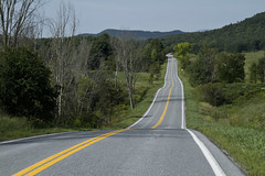 Rural Road (brucetopher) Tags: road roadside yellowline center line lines asphault pavement green mountains adirondacks hilly hills hill country rural backroad street