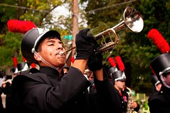 Play That Funky Music (backbeatb00gie) Tags: 2017 beaverdaleparade desmoines easthighmarchingscarlets iowa band highschool music nikond5000 trumpet