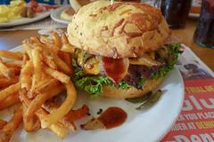 Dennys Bourbon Bacon Burger 9-10-17 02 (anothertom) Tags: brooklyniowa dennys restaurant food bourbonbaconburger cheeseburger fries 2017 sonyrx100ii