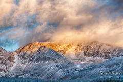 Sunrise lights up Mount Audubon