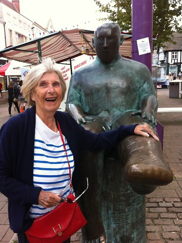 June Conneally with Sock Man in Loughborough