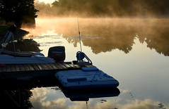 Smoke on the Water (Poocher7) Tags: water canal trentcanal bolsover ontario kawarthalakes canada reflections lilypads dock airmattress boat evinrudemotor trees mist fog smokeonthewater sunup sunrise earlymorning morning peaceful quiet serene lovely pretty beautiful