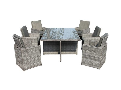 Barcelona 7 Piece Rattan Garden Cube Set in Grey