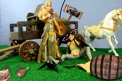 West Clampet Vikings get Cadmael in trouble (MayorPaprika) Tags: wonderwoman queenhippolyta mattel 2017 marx viking vintage 16 custom diorama humor mead wagon horse hay decoupage