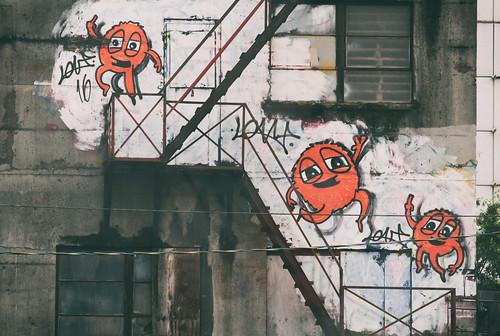 those orange guys on the stairs