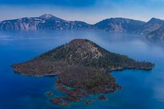 Wizard Island (Aaron Fredericy) Tags: oregon summer hiking explore smoke forestfire fire cloudy craterlakenationalpark craterlake lake wizardisland island blue