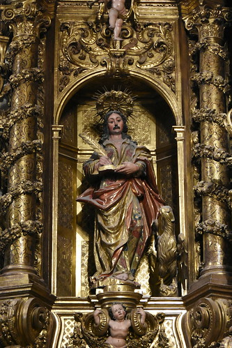 Cadaqués. Parish Church. John the evangelist. Detail of the altarpiece dedicated to the Virgin Mary. Carved 1723-1729. Gilded 1770-1788. Joan Torras and Pau Costa, sculptors