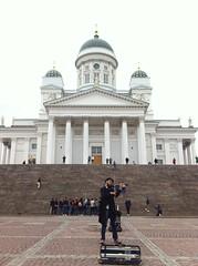 Helsinki Cathedral, Senate Square (AJoStone) Tags: busking busker musician street violin violinist cathedral helsinki finland