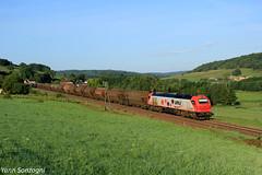 Dans la rosée du matin... (Lion de Belfort) Tags: train chemin de fer sncf vfli euro 4000 4027 e4027 trémies creuse la vossloh ligne 4 l4 poteaux télégraphiques