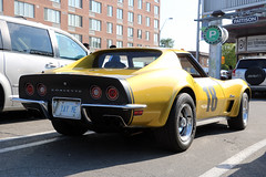 Yay Me (Can Pac Swire) Tags: car auto automobile old vintage toronto ontario canada canadian city urban chevy chevrolet american corvette golden mustard metallic 2017aimg1948 special custom customised customized licence license plate number 18