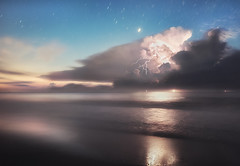 Lights at Sea (Appalachian Hiker) Tags: storm lightning thunderstorm ocean coast beach summer stars sunrise