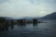 Into the wild blue yonder (charhedman) Tags: penticton skahalake blue lake water boat mountains smoke hazy man
