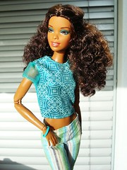 Turquoise cutie (Deejay Bafaroy) Tags: barbie madetomove mtm mattel doll puppe asha black outdoors draussen sunny sonnig turquoise türkis stripes streifen striped gestreift diaries tia 2005