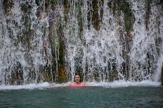 Taking a cold shower at Fuente de Algar