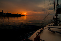Sunrise......and a new day's breaking through... (Dafydd Penguin) Tags: sunrise sea coast coastal water sun passage yacht yachting sail sailboat boat hallberg rassy explore clouds land alcudia mallorca balearics island port harbour harbor spain nikon df nikkor 20mm af f28d