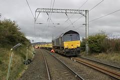 Photo of Engineers train 6K07 at Restonhill, Borders Region, Scotland.